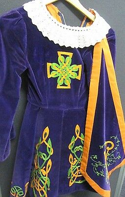 Irish Dancing Costume, Celtic pattern handembroidered, age 10-11 years app