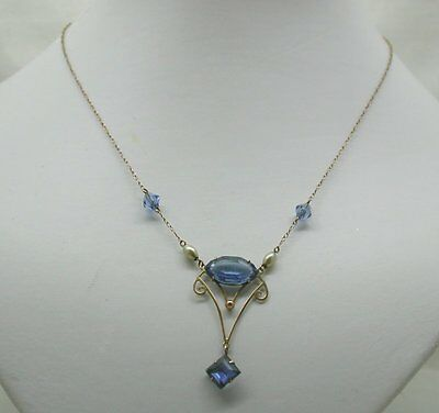1920's Vintage Lovely 9ct Gold Blue Stone And Pearlized Bead Necklace