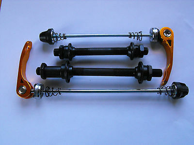 Cycle Quick Release FRONT & REAR AXLES  INCLUDING GOLD Alloy Wheel SKEWER SET