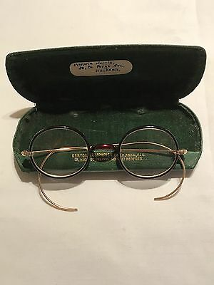 Vintage Antique Round Rimmed Reading Spectacles / Glasses With Case