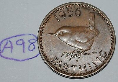 1956 Great Britain Farthing UK Coin KM# 895 Lot #A98