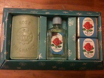 Vintage Timothy Whites English Rose Toiletries Set Soap, Bath Cubes And Cologne