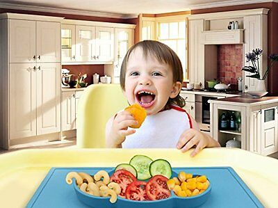 Kids Placemats Silicone for Kids toddler Plate happy mat BPA FREE (Set of 2) NEW