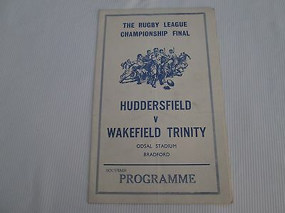 1962 RUGBY LEAGUE FINAL HUDDERSFIELD v WAKEFIELD TRINITY (PIRATE BY COLLIERS WOO