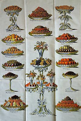 Vintage PAST TIMES Bodleian Library MRS BEETON'S Victorian FRUITS 1994 TEA TOWEL