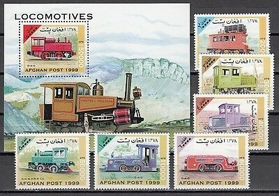 + Afghanistan, 1999 issue. Trains set & s/sheet issue.
