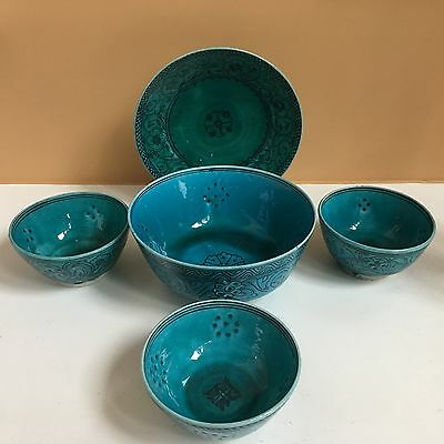 Antique Iran Persian POTTERY Turquoise Large Bowl/Plate/3 Small Bowls