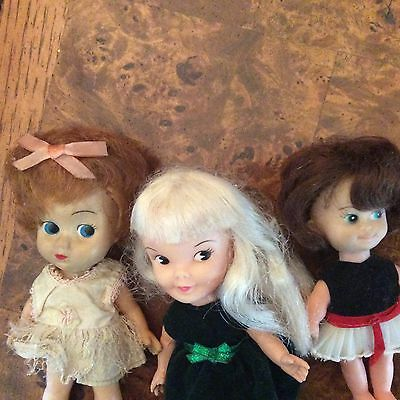 Vintage 1960s Remco Heidi Pocketbook Doll and her 2- Girlfriends