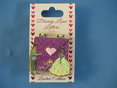 LOVE LETTERS   Disney Pin 2016 TIANA & PRINCE   Limited Edition NEW on card