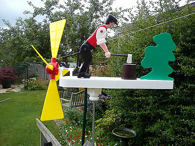 Retro Vintage Type Wood Chopping Whirligig, Whirlygig, Garden Windmill,