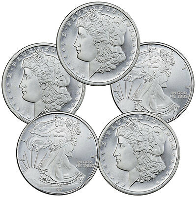 Lot of 5 - Generic Design 1 Troy Oz .999 Silver Rounds SKU45063