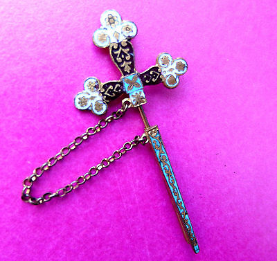 Atique French Champleve Enamel Ornate Sword In Brooch.