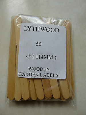 "Wooden 4"" Seed Labels. Garden Plants,Seeds,Cuttings etc.Pack of 50 x 4"". New."