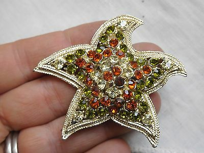 Dazzling Vintage 1960s Crystal STARFISH Brooch signed EXQUISITE