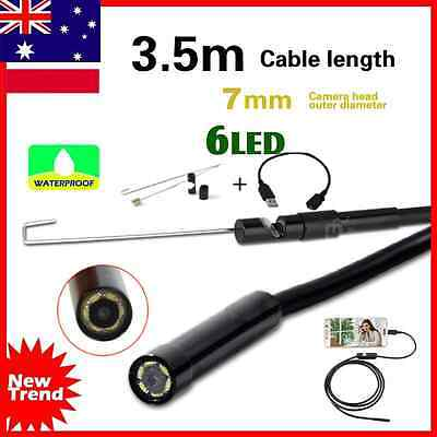 3.5M Waterproof Android Endoscope Borescope Snake Inspection Video Camera 7mm AU
