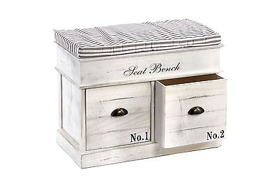 Storage Seat Bench with Drawers and Cushion SHABBY CHIC