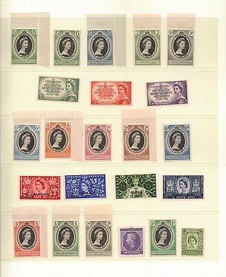 1953. QEII Coronation. Complete omnibus set of 106 stamps. MNH/MLH. See Notes