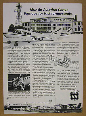 1967 Muncie Aviation delaware county airport photo Phillips 66 vintage print Ad