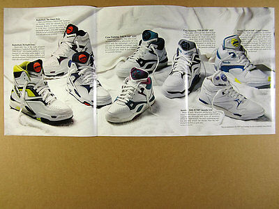 1990 Reebok PUMP basketball hi-top cross-training tennis shoes 6 page print Ad