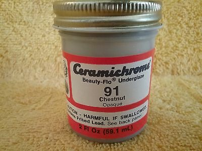 CERAMICHROME Beauty-Flo Chestnut Underglaze 2 Ounce Bottle