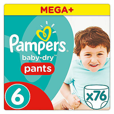 Pampers Mega Plus Baby Dry Pants Size 6, Monthly Saving Pack of 76 Nappies NEW