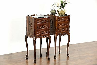 Pair Carved Walnut 1920 Antique Nightstands, Black Marble Tops