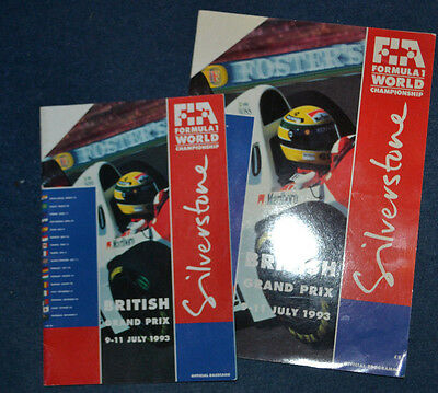British Grand Prix 1993  Silverstone F1  Official Programme and race card