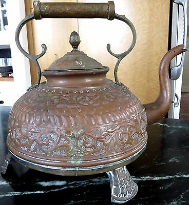 Persian Ottoman Turkish Antique Ornate Copper Brass Footed Kettle Vessel Dallah