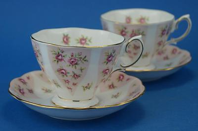 Pair of ROYAL ALBERT Debutante Tea Cups & Saucers ROMANCE Pink Roses vgc