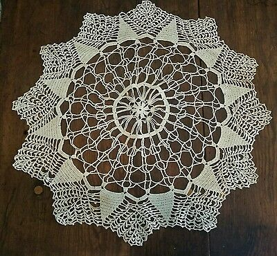 """Antique Estate Hand Embroidered Lace Doilies Doily. 20"""" large size"""