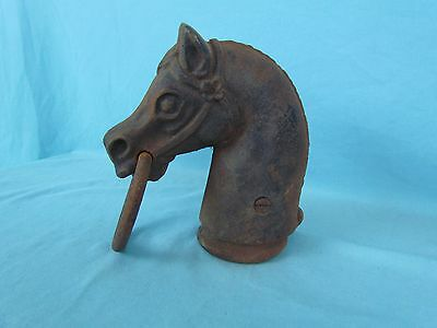 Antique Vtg Cast Iron Horse Head Hitching Post