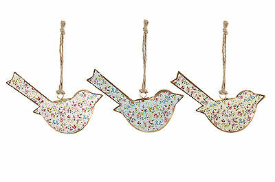 New Vintage Style Flower Floral Print Hanging Metal Bird Ornament - Pink