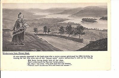 Windermere from orrest head 1936 postcard