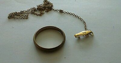 Vintage Rolled Gold Ring And Chain