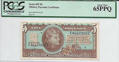Military Payment Certificate***five Dollars***series 692***gem New 65Ppq     Cfo