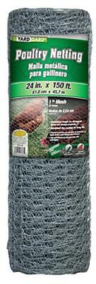"""Midwest Air 24"""" x 150', 1"""" Mesh, Galvanized Poultry Net, 20 Gauge 308413B"""