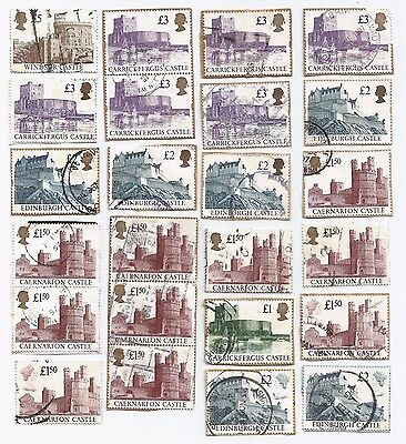 24 Gb Castle Stamps £1 £1.50 £2 £3 £5 Collectable Collection