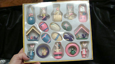 Easter Ornaments Solid Wood Painted Eggs  Bunnies BASKETS 18 pc Set  NEW IN BOX