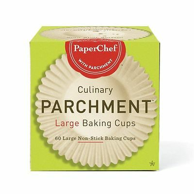 PaperChef Culinary Parchment 60 LARGE Baking Cups Non-Stick NEW