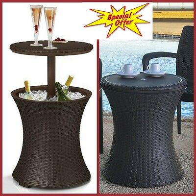 Wicker Table Cooler Stand Beverage Ice Bucket Patio Bar Pool Camping Party  Boat