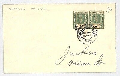 J182 1938 GILBERT & ELLICE ISLANDS Postmark *Vaitupu* 1d Rate Cover Ocean Island