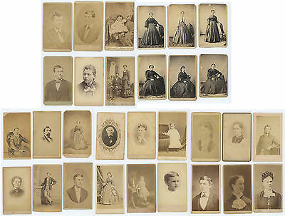 THIRTY 1860's-1870's CDV PHOTOS, W/ 21 PIECES FROM PA., INCL. PHILA.