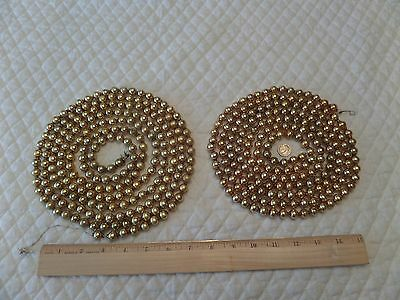 "2 Nice Bright Gold Vintage Mercury Bead Garlands W/ 3/8"" Beads Approx 200"" Total"