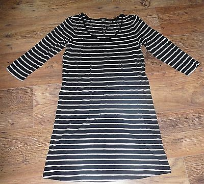 MATERNITY LONGLINE TOP by GEORGE SIZE 10 BLACK & WHITE STRIPED 3/4 SLEEVES