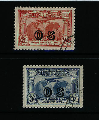 "Australia stamps - 1931 ""OS"" overprint on 2d & 3d Kingsford Smith Airmail - CTO"