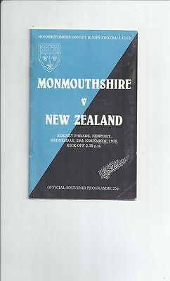 Monmouthshire v New Zealand Rugby Union Programme 1978