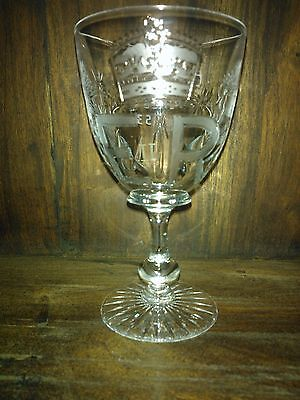 VINTAGE RARE Etched Cut Glass | Wine Glass | ER II | Queens Coronation 1953