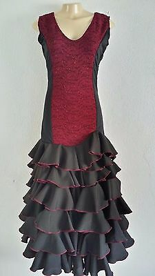 Flamenco Dress vestido de flamenco black red burgundy lace stretch size Medium