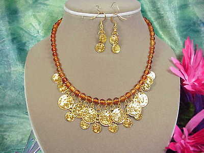 Shiny Gold Coin & Amber Glass Bead Collar Style Necklace Set.   A~K~N Design