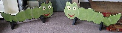 2 x GREEN CATERPILLAR shaped Horse show jump fillers or wings pony show events